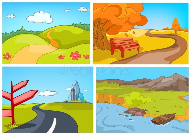 Διανυσματικό σύνολο κινούμενων σχεδίων καλοκαιριού, υπόβαθρα φθινοπώρου διανυσματική απεικόνιση