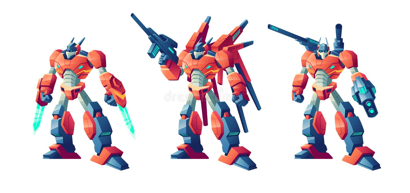 Διανυσματικό σύνολο κινούμενων σχεδίων ρομπότ μάχης μετασχηματιστών διανυσματική απεικόνιση