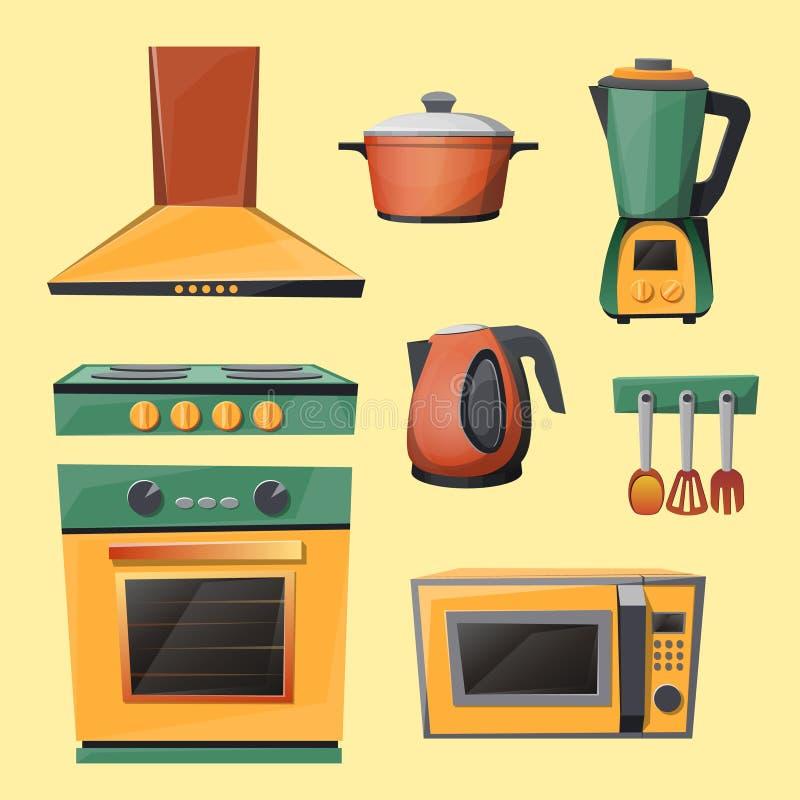 Διανυσματικό σύνολο κινούμενων σχεδίων συσκευών οικιακών κουζινών απεικόνιση αποθεμάτων