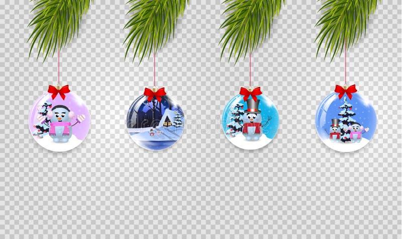 Διανυσματικό σύνολο κλάδων χριστουγεννιάτικων δέντρων με τα Χριστούγεννα και τις νέες σφαίρες έτους διανυσματική απεικόνιση