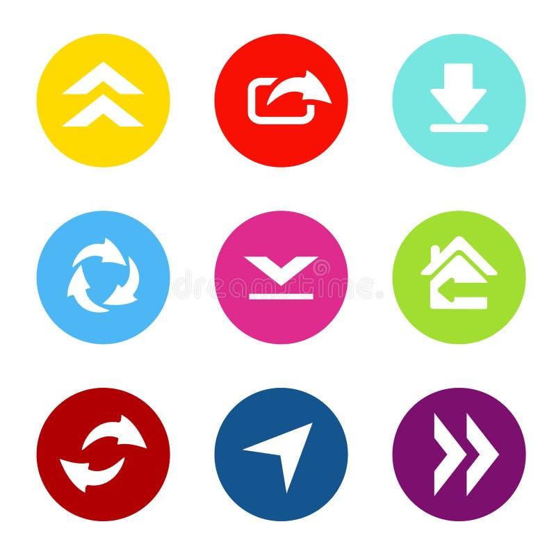 Διανυσματικό σύνολο κοινών βελών με το κουμπί κύκλων Τα εικονίδια επικοινωνίας μεταφορτώνουν, φορτώνουν, μερίδιο για κινητό, smar απεικόνιση αποθεμάτων