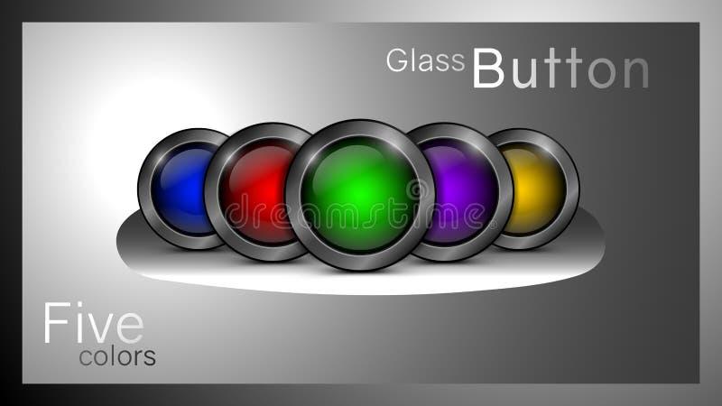 Διανυσματικό σύνολο κουμπιών γυαλιού ελεύθερη απεικόνιση δικαιώματος