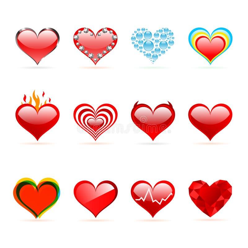 Διανυσματικό σύνολο κόκκινων καρδιών ημέρας του βαλεντίνου Αγίου διανυσματική απεικόνιση