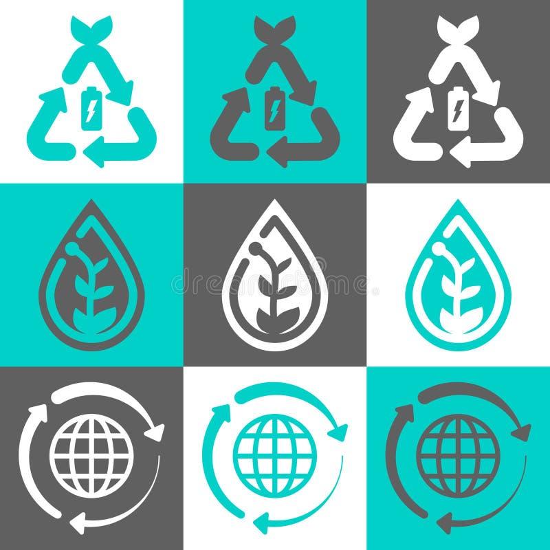 Διανυσματικό σύνολο λογότυπων έννοιας Eco απεικόνιση αποθεμάτων