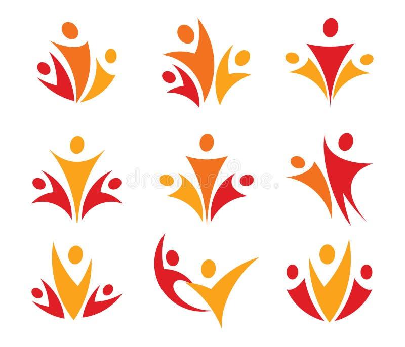 Διανυσματικό σύνολο λογότυπων ένωσης ανθρώπων Αφηρημένο οικογενειακό εικονίδιο Συλλογή γονέων logotype Υγιή σημάδια τρόπου ζωής ό απεικόνιση αποθεμάτων