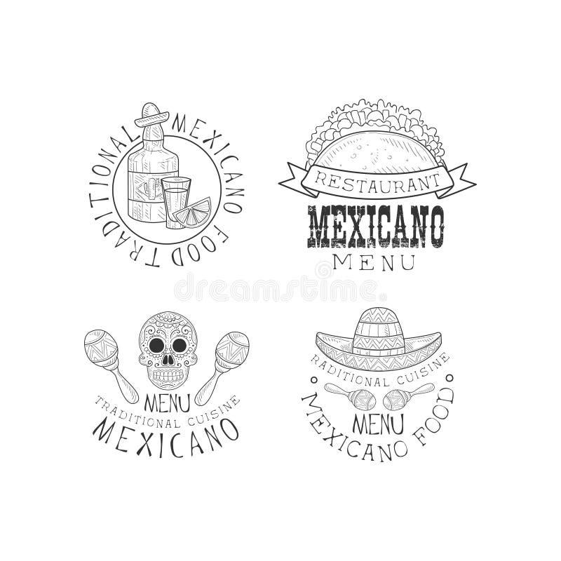 Διανυσματικό σύνολο 4 λογότυπων για τα εστιατόρια της μεξικάνικης κουζίνας Μονοχρωματικά εμβλήματα με το μπουκάλι tequila, tacos, διανυσματική απεικόνιση