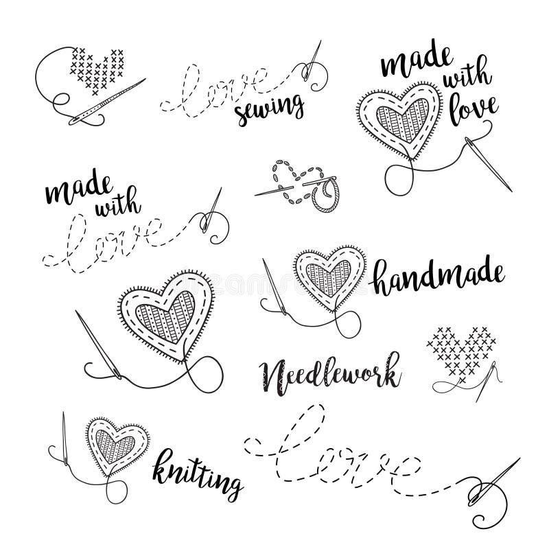 Διανυσματικό σύνολο λογότυπων εγγραφής, ράψιμο, θέμα κεντητικής με την καρδιά απεικόνιση αποθεμάτων