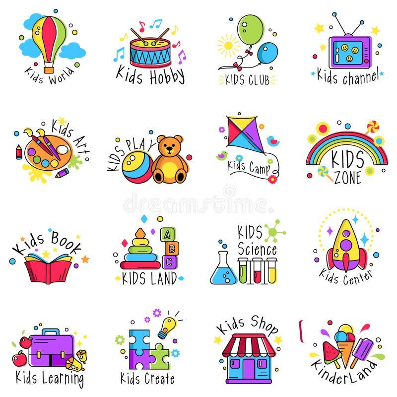 Διανυσματικό σύνολο λογότυπων παιδιών ελεύθερη απεικόνιση δικαιώματος