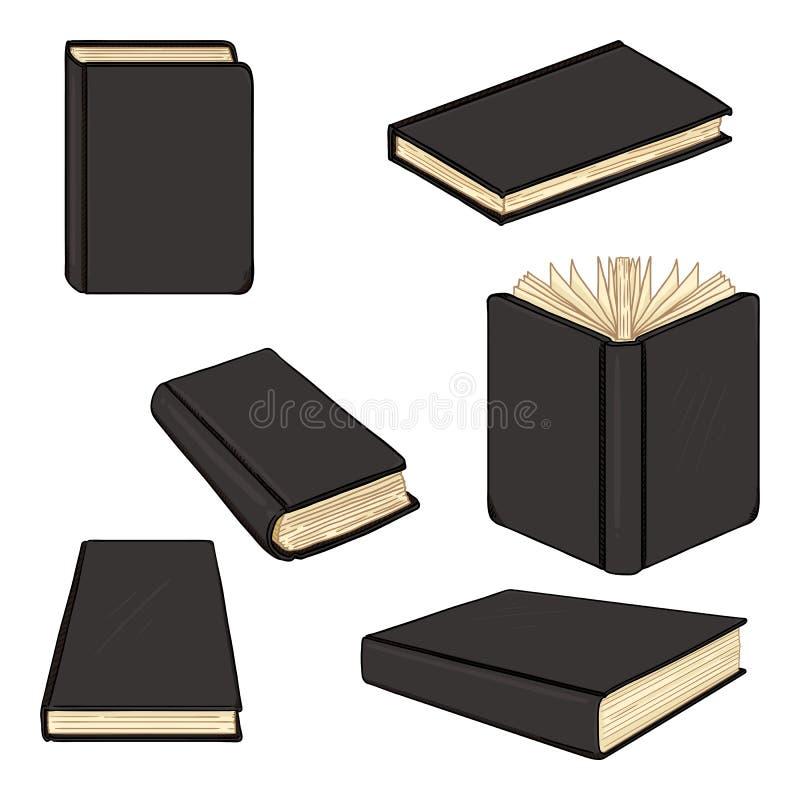 Διανυσματικό σύνολο μαύρων βιβλίων Hardcover κινούμενων σχεδίων απεικόνιση αποθεμάτων
