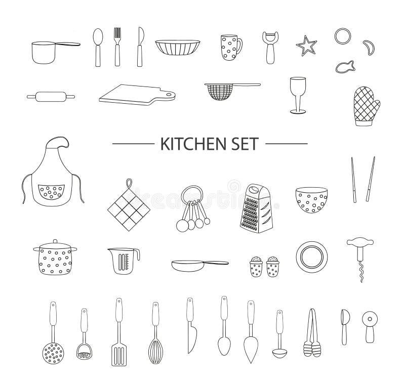 Διανυσματικό σύνολο μαύρων εργαλείων κουζινών που απομονώνεται στο άσπρο υπόβαθρο Μονοχρωματικό πακέτο της ποδιάς, μαχαιροπήρουνα απεικόνιση αποθεμάτων