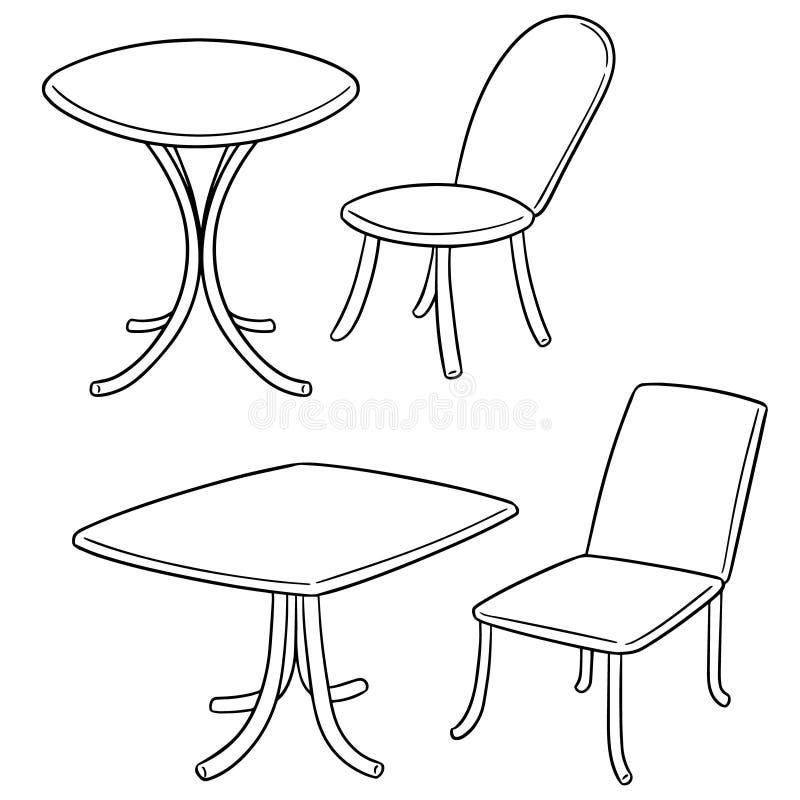 Διανυσματικό σύνολο πίνακα και καρέκλας διανυσματική απεικόνιση