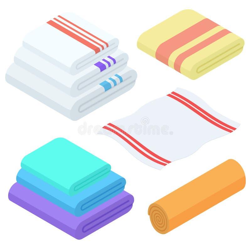 Διανυσματικό σύνολο πετσετών κινούμενων σχεδίων isometric Διπλωμένη ύφασμα πετσέτα για το λουτρό ελεύθερη απεικόνιση δικαιώματος