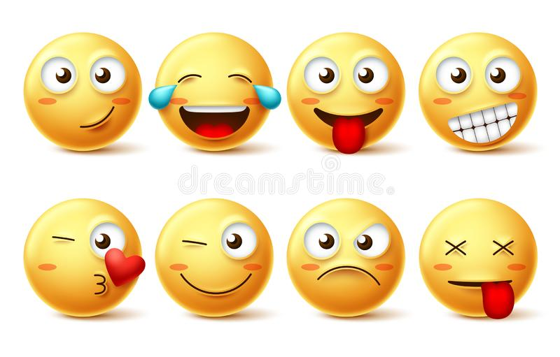 Διανυσματικό σύνολο προσώπου Smiley Κίτρινο emoji Smileys με ευτυχής, αστείος, φιλώντας, γέλιου και κουρασμένη τις εκφράσεις του  ελεύθερη απεικόνιση δικαιώματος