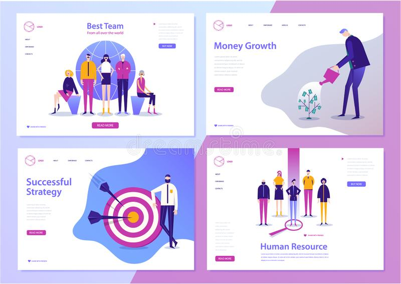 Διανυσματικό σύνολο προτύπων σχεδίου ιστοσελίδας για την επιχείρηση, τη χρηματοδότηση και το μάρκετινγκ Σύγχρονες απεικονίσεις χα διανυσματική απεικόνιση