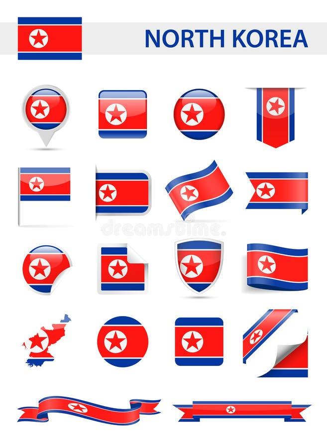 Διανυσματικό σύνολο σημαιών Βόρεια Κορεών ελεύθερη απεικόνιση δικαιώματος