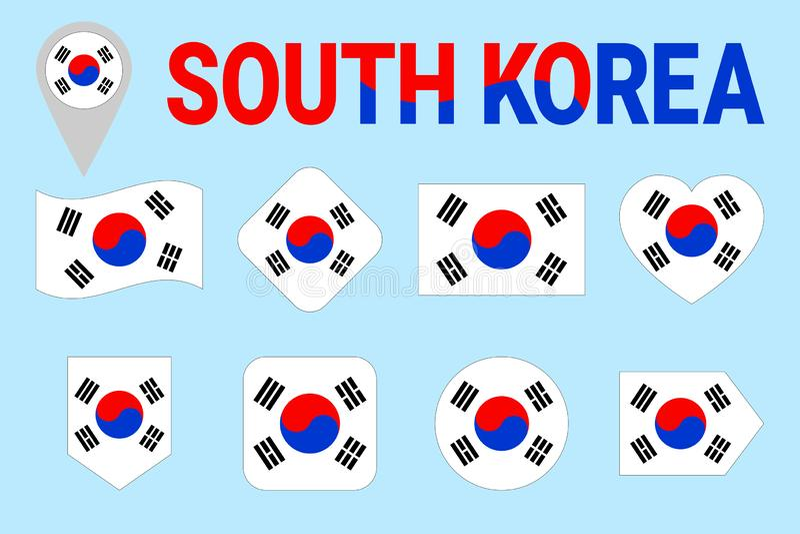 Διανυσματικό σύνολο σημαιών της Νότιας Κορέας Διαφορετικές γεωμετρικές μορφές Επίπεδο ύφος Νοτιοκορεατική συλλογή σημαιών Μπορέστ διανυσματική απεικόνιση