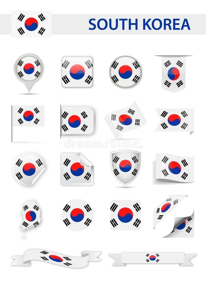 Διανυσματικό σύνολο σημαιών της Νότιας Κορέας απεικόνιση αποθεμάτων
