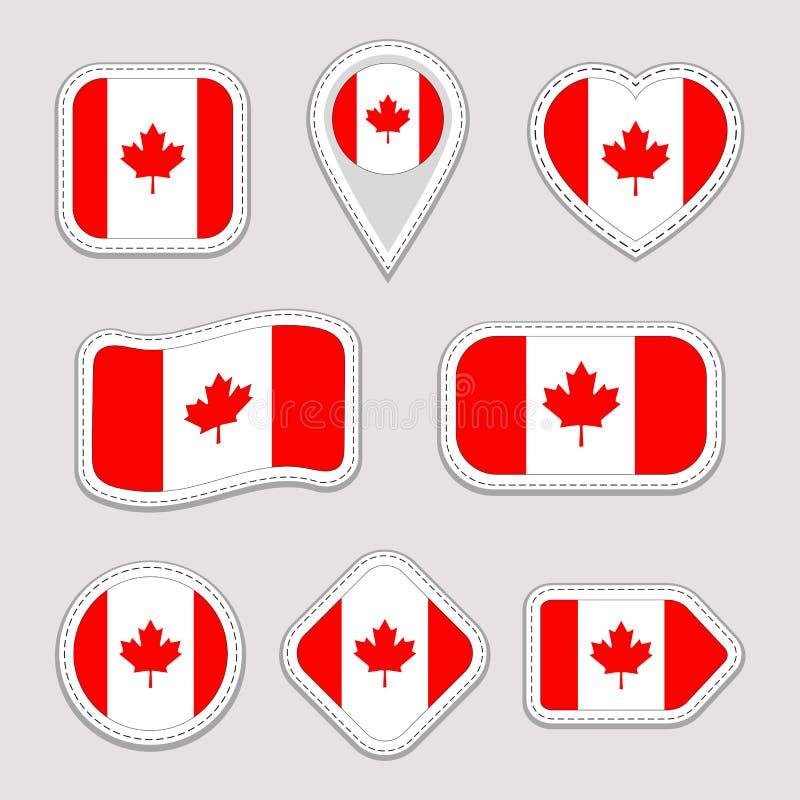 Διανυσματικό σύνολο σημαιών του Καναδά Καναδική συλλογή αυτοκόλλητων ετικεττών εθνικών σημαιών Το διάνυσμα απομόνωσε τα γεωμετρικ διανυσματική απεικόνιση