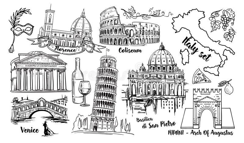 Διανυσματικό σύνολο σκίτσων ορόσημων της Ιταλίας Coliseum, γέφυρες Βενετία, πύργος Πίζα, Βατικανό, Rimini, αψίδα Augustus, Σάντα  ελεύθερη απεικόνιση δικαιώματος