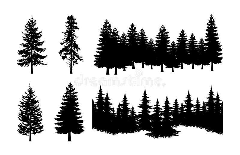 Διανυσματικό σύνολο σκιαγραφιών δέντρων πεύκων ελεύθερη απεικόνιση δικαιώματος