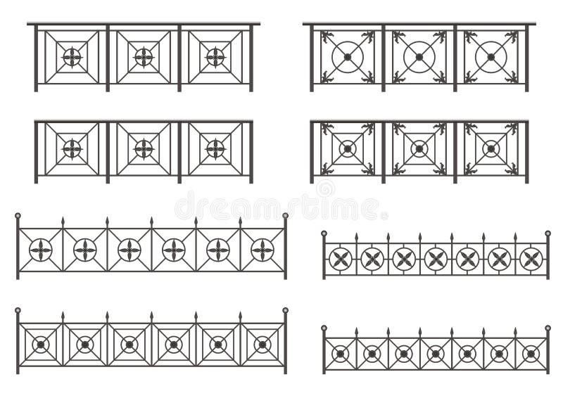 Διανυσματικό σύνολο σκιαγραφιών των φραγών σιδήρου ελεύθερη απεικόνιση δικαιώματος