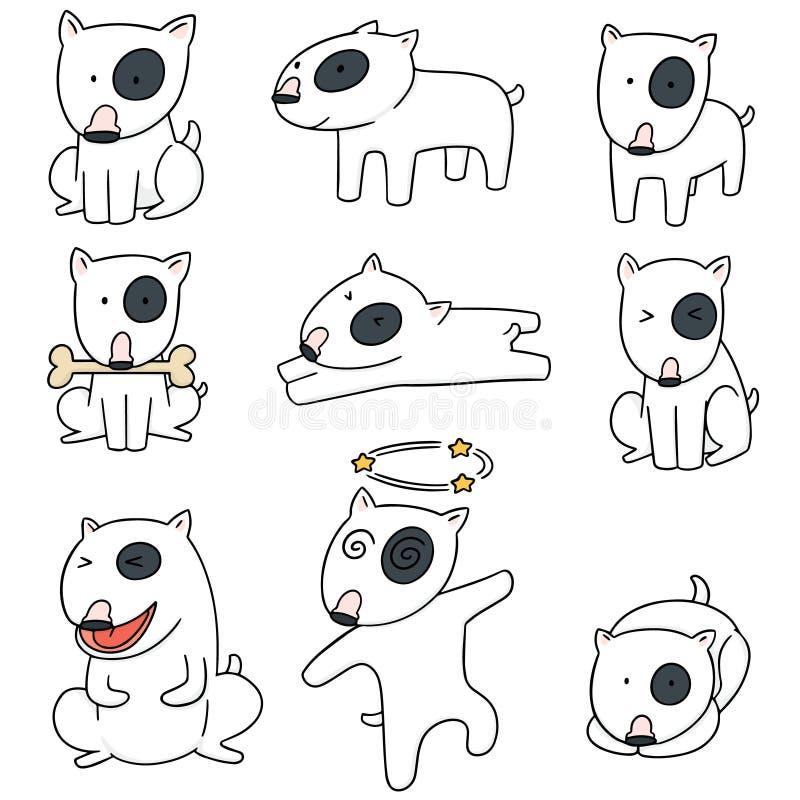 Διανυσματικό σύνολο σκυλιού, τεριέ ταύρων διανυσματική απεικόνιση