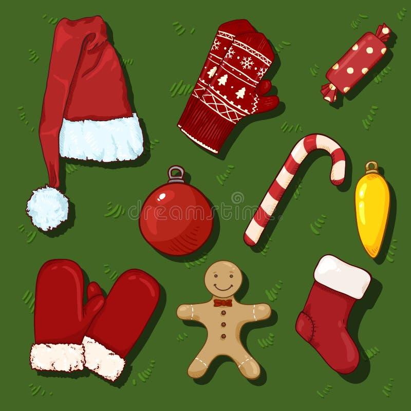 Διανυσματικό σύνολο συμβόλων Χριστουγέννων χρώματος κινούμενων σχεδίων Ενδύματα και διακοσμήσεις ελεύθερη απεικόνιση δικαιώματος