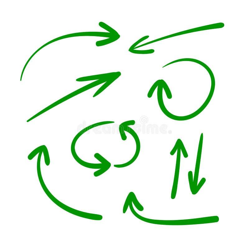 Διανυσματικό σύνολο συρμένων χέρι βελών, πράσινο υπόβαθρο βελών, κατευθυντικά σημάδια διανυσματική απεικόνιση