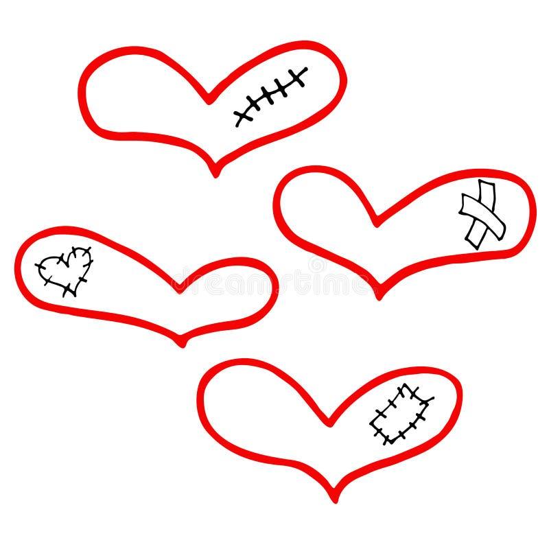 Διανυσματικό σύνολο συρμένων χέρι καρδιών με το ασβεστοκονίαμα, το σημάδι και το μπάλωμα απεικόνιση αποθεμάτων