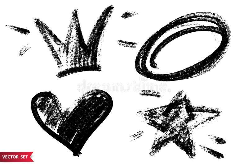 Διανυσματικό σύνολο συρμένων χέρι ξηρών συμβόλων βουρτσών Μαύρες εικόνες κορωνών, καρδιών, αστεριών και κύκλων ξυλάνθρακα συρμένε απεικόνιση αποθεμάτων