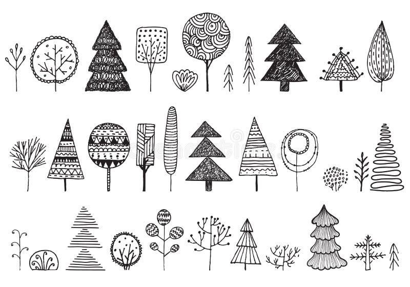 Διανυσματικό σύνολο συρμένων χέρι doodle δέντρων Δασικά στοιχεία έννοιας εικονιδίων εγκαταστάσεων απεικόνισης Απομονωμένη φύση σκ διανυσματική απεικόνιση