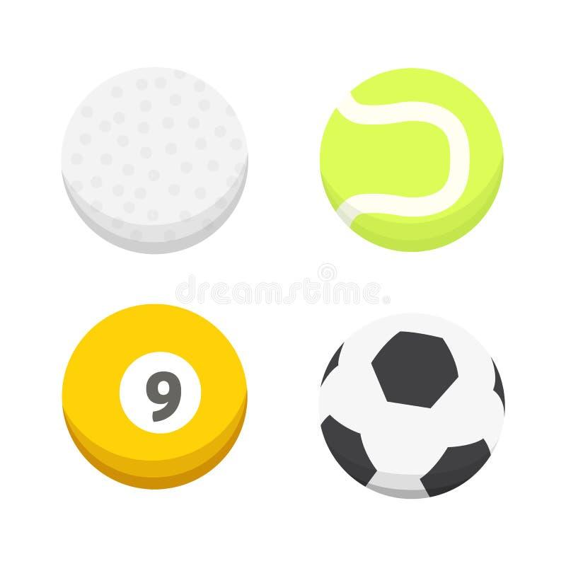 Διανυσματικό σύνολο σφαιρών κινούμενων σχεδίων ζωηρόχρωμο εικονίδια αθλητικών σφαιρών που απομονώνονται απεικόνιση αποθεμάτων