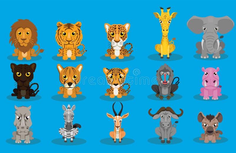 Διανυσματικό σύνολο σχεδίου κινούμενων σχεδίων άγριων ζώων διανυσματική απεικόνιση