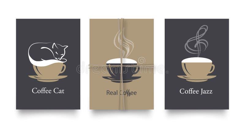 Διανυσματικό σύνολο σύγχρονων αφισών στο ύφος καφέ Εκλεκτής ποιότητας ή αναδρομικά πρότυπα για τα ιπτάμενα, τις προσκλήσεις, το σ ελεύθερη απεικόνιση δικαιώματος