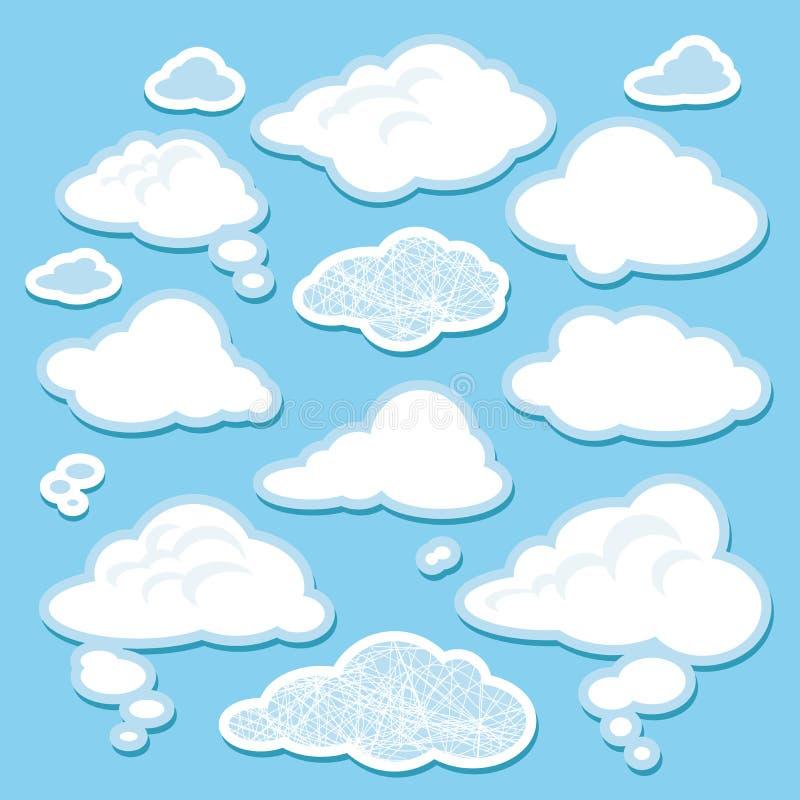 Διανυσματικό σύνολο σύννεφων κινούμενων σχεδίων απεικόνιση αποθεμάτων