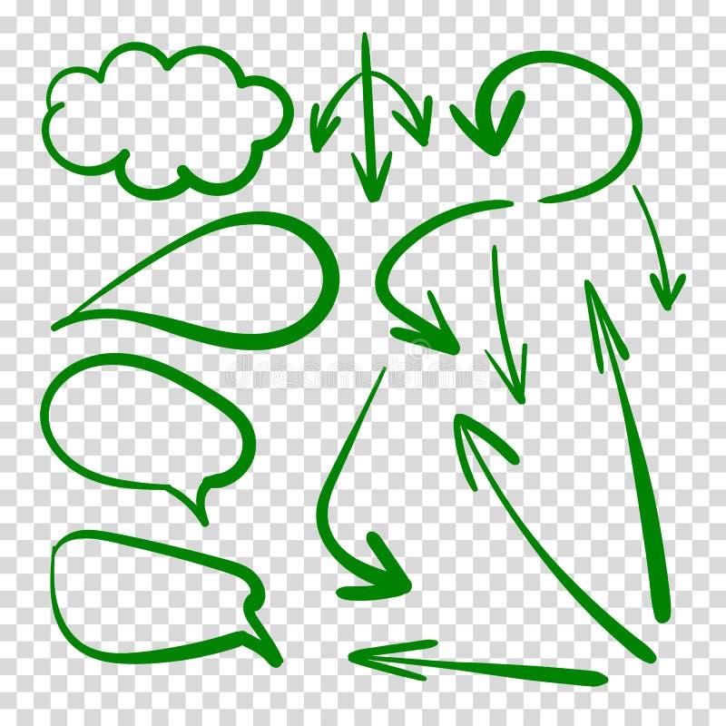 Διανυσματικό σύνολο σύννεφων συζήτησης και βελών, πράσινα σχέδια στο διαφανές υπόβαθρο στοκ φωτογραφίες