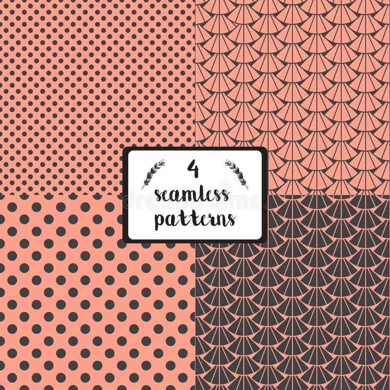 Διανυσματικό σύνολο τεσσάρων συστάσεων seamles για το τύλιγμα ή την υφαντική τυπωμένη ύλη διανυσματική απεικόνιση