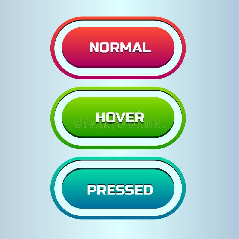 Διανυσματικό σύνολο τριών καταστάσεων του κουμπιού Ιστού διανυσματική απεικόνιση
