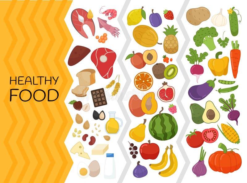 Διανυσματικό σύνολο υγιών τροφίμων ελεύθερη απεικόνιση δικαιώματος