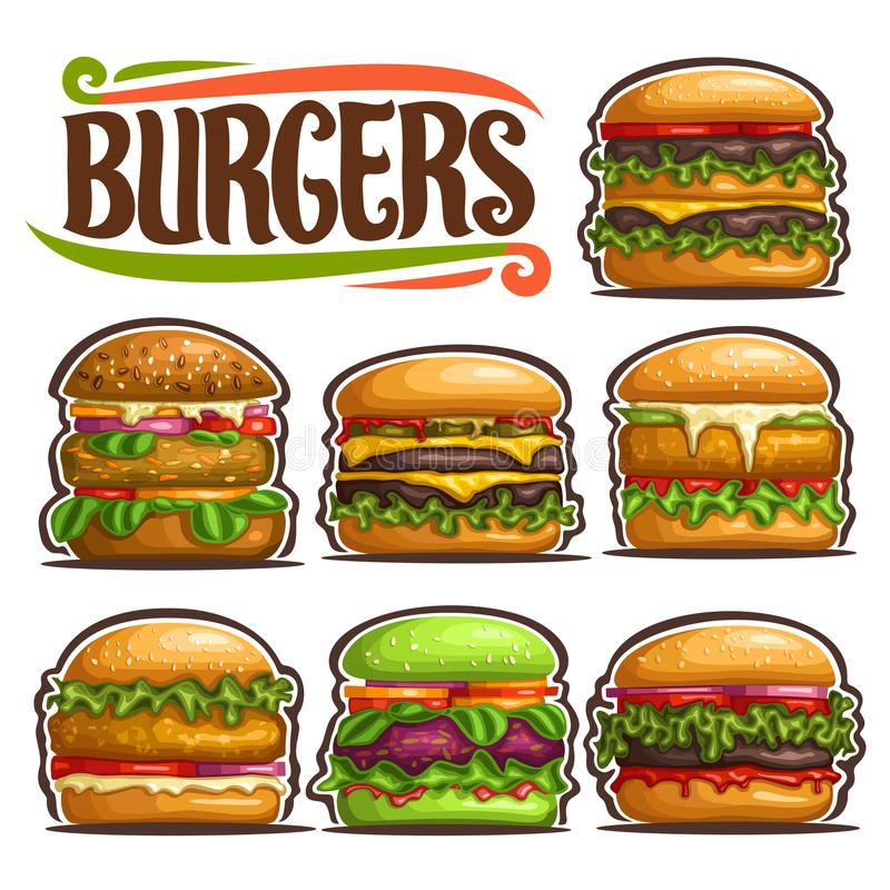 Διανυσματικό σύνολο φρέσκου Burgers ελεύθερη απεικόνιση δικαιώματος
