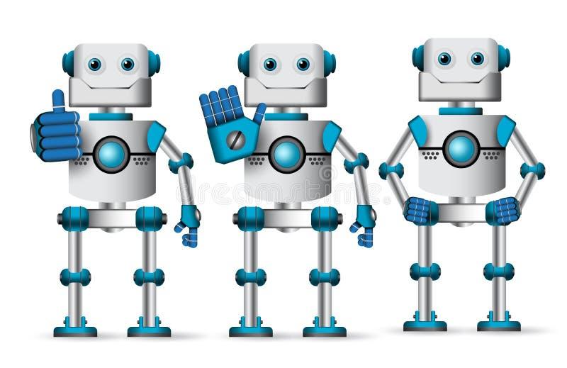Διανυσματικό σύνολο χαρακτήρων ρομπότ που στέκεται με τις διαφορετικές χειρονομίες χεριών ελεύθερη απεικόνιση δικαιώματος