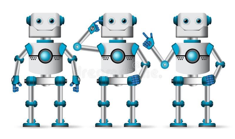 Διανυσματικό σύνολο χαρακτήρων ρομπότ Ρομποτική μασκότ στην άσπρη στάση απεικόνιση αποθεμάτων