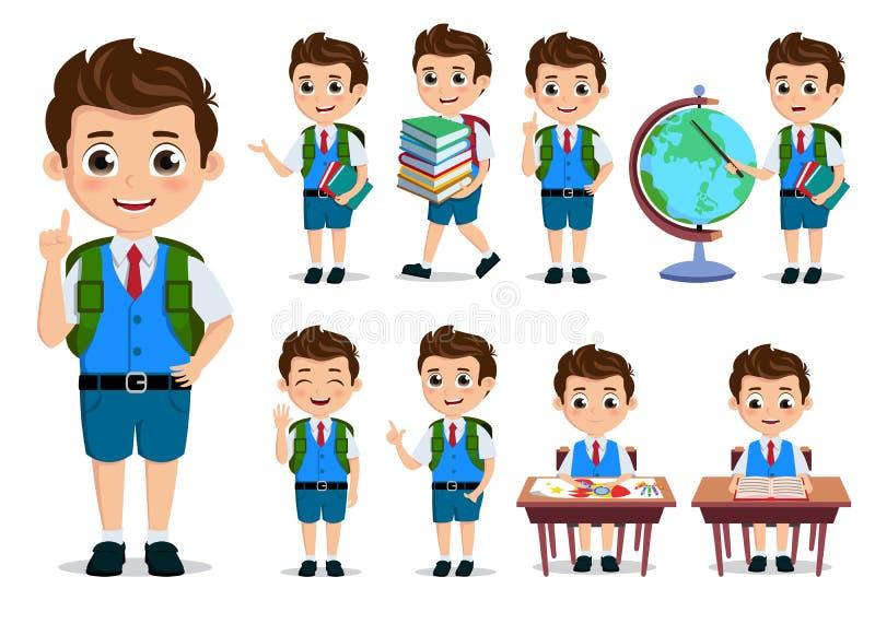 Διανυσματικό σύνολο χαρακτήρων σπουδαστών σχολικών παιδιών Πίσω στους χαρακτήρες κινουμένων σχεδίων σχολικών αγοριών διανυσματική απεικόνιση