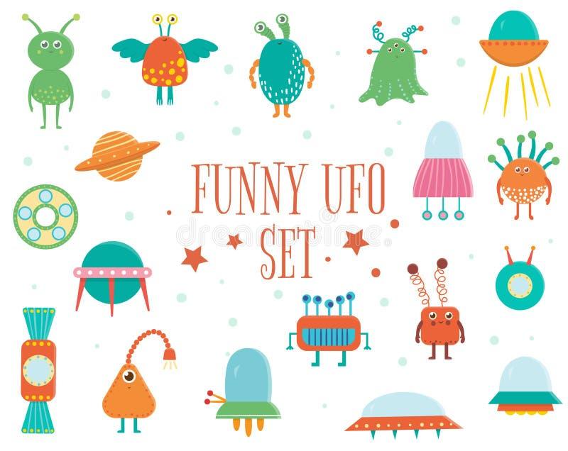 Διανυσματικό σύνολο χαριτωμένων αλλοδαπών, UFO, πετώντας πιατάκι για τα παιδιά ελεύθερη απεικόνιση δικαιώματος