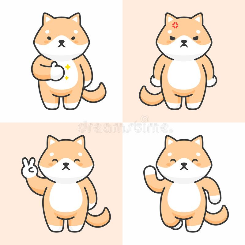 Διανυσματικό σύνολο χαριτωμένων χαρακτήρων inu shiba διανυσματική απεικόνιση