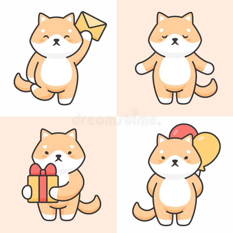 Διανυσματικό σύνολο χαριτωμένων χαρακτήρων inu shiba ελεύθερη απεικόνιση δικαιώματος