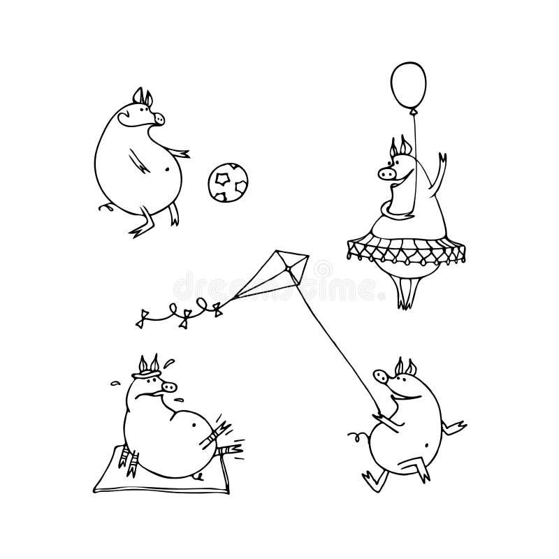 Διανυσματικό σύνολο χοίρων κινούμενων σχεδίων Αστείοι χοίροι που παίζουν το ποδόσφαιρο, αεροβικό απεικόνιση αποθεμάτων