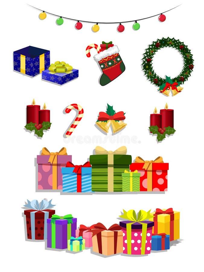 Διανυσματικό σύνολο Χριστουγέννων χαριτωμένων εορταστικών ιδιοτήτων κινούμενων σχεδίων στο άσπρο υπόβαθρο ελεύθερη απεικόνιση δικαιώματος