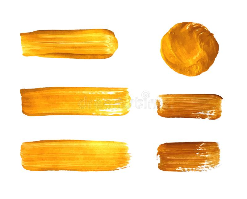 Διανυσματικό σύνολο χρυσών κηλίδων χρωμάτων, χρυσό υπόβαθρο κτυπημάτων βουρτσών διανυσματική απεικόνιση