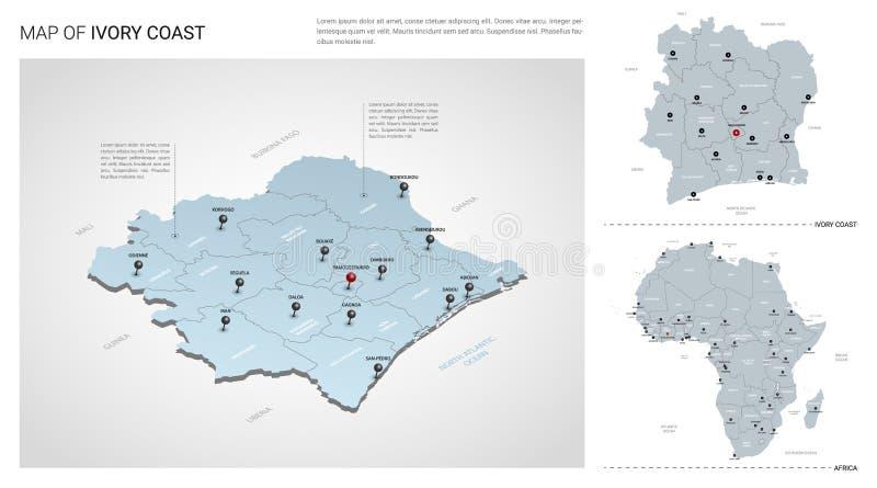 Διανυσματικό σύνολο χώρας της Ακτής του Ελεφαντοστού ελεύθερη απεικόνιση δικαιώματος